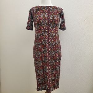 Lularoe Julia Floral Print Midi Length Dress D24